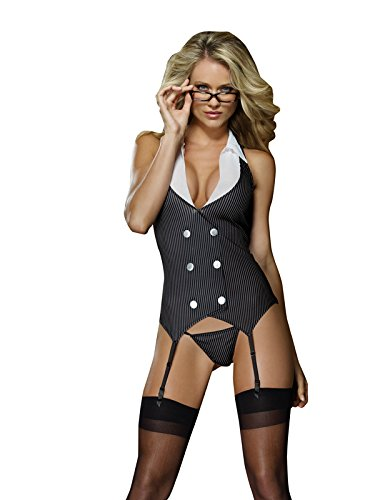 Dreamgirl Women's Working Girl Slip, Black, One Size (Womens Sexy French Maid Costume)