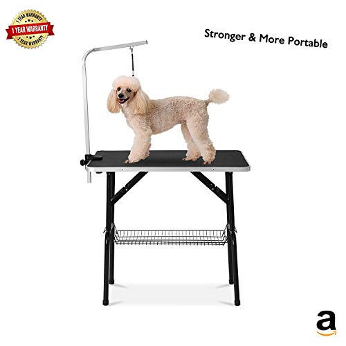 Professional Grooming Table 32' for Dogs & Pets Foldable & Durable with Adjustable Arm, Stainless Leg Frame, Storage Tray, MDF Board & Rubber Mat