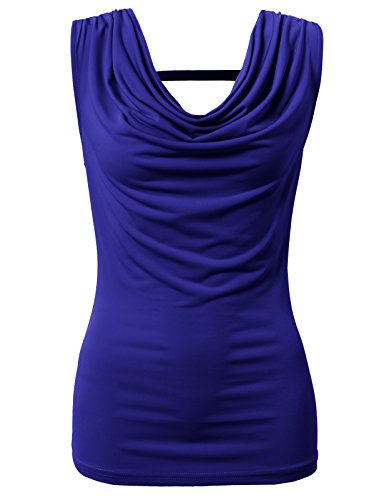 H2H Womens Comfy Soft Cowl Neck One Point Shirring Shoulder Tank Tops Blue US 2XL/Asia 2XL (CWTTK063)