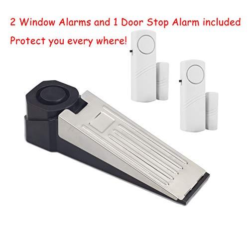 (Wedge Doorstop Alarm and Window Security Alarm Set, Loud Wireless Window Doorstop Alarms for Home, Hotel, Dorm or Apartment Safe)
