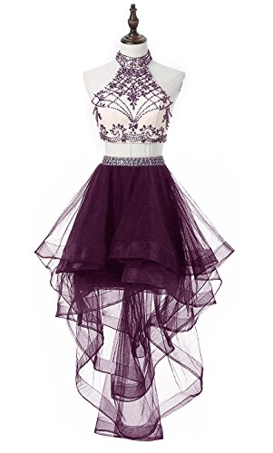 HEIMO Women's 2 Pieces Beaded Keyhole Back Homecoming Dresses Halter Beading Prom Gowns Short H199 10 Grape