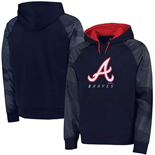 Mlb Hooded Therma Base - VF Atlanta Braves MLB Majestic Mens Armor Therma Base Hoodie Navy Blue Size 6XL