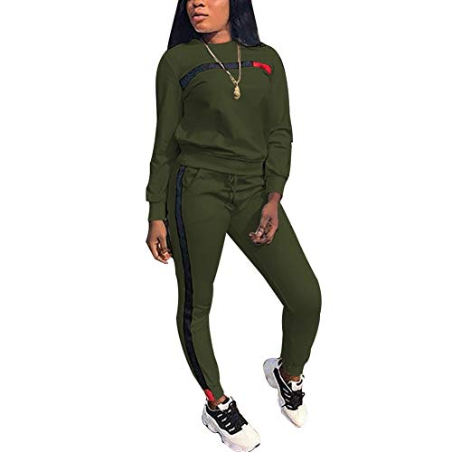 Women Sport Suits Active Top Bottom Sets Sweatshirt Pant 2 Piece Outfits Army Green