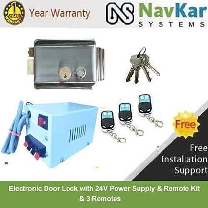 NAVKAR Electronic Door Lock with 24V Supply & Remote Kit & 3 Remotes