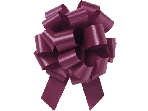 Burgundy 5.5 Inch 20 Loop Pull Bows 10 Pack Gift Wrap Christmas Wedding Gift Wrap Pull Bows Pull String Bows by A1 Bakery - Burgundy Pull Bows