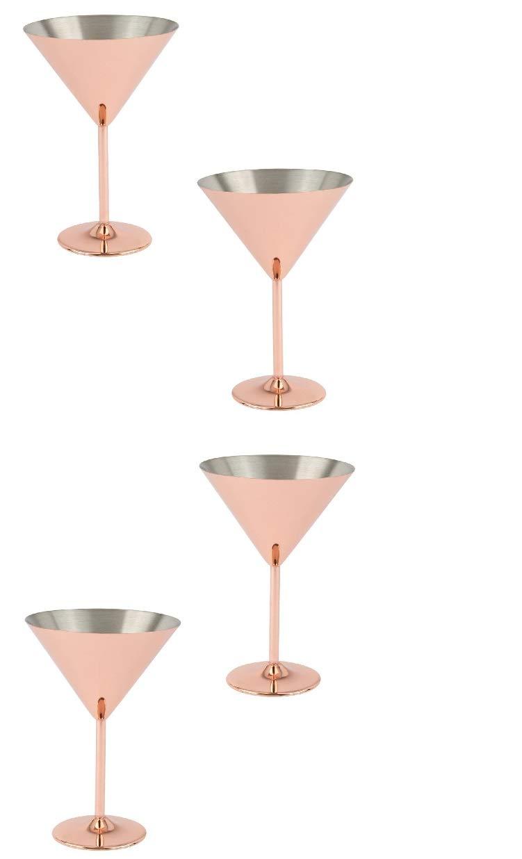 Copper Martini Glasses Set - Large Martini Glasses - Unique Martini Glasses (4 Pack)