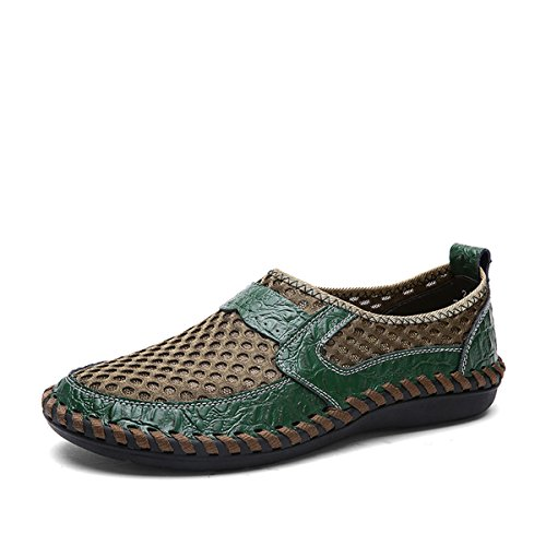 Mesh Casual shoes, Tezoo Summer Men's Mesh Breathable Walking Loafers, Slip-on Shoes, Hiking Shoes with Genuine Leather - Comfortable, Soft, Durable, Lightweight and Fashional Green 8.5 by Tezoo