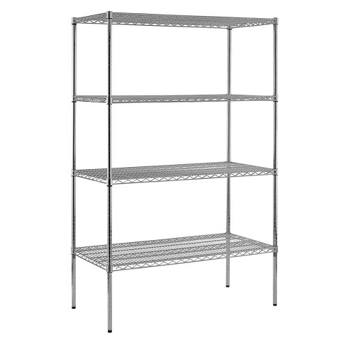 Steel Reinforced Shelving Unit - Sandusky Lee WS482474-C Chrome Steel Wire Shelving, 4 Adjustable Shelves, 800 lb. Per Shelf Capacity, 74