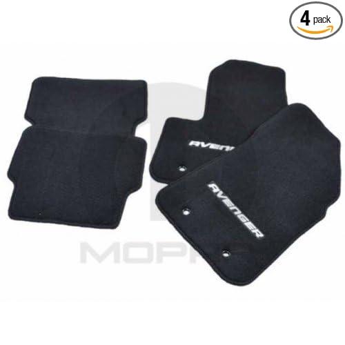 Front and Rear Seat Mats, Avenger Logo Mopar 82213151AB Black Nylon Carpet Floor Mat 4 Pack