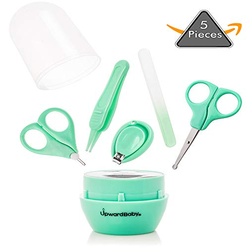 UpwardBaby Baby Nail Clipper and Scissor Set | 5-in-1 Newborn Infant Manicure Grooming Kit for Kids Toddlers | Premium Stainless Steel Toddler Clippers Scissors with Nose Tweezers and File Included