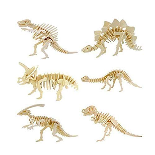 (Lxnoap 6 piece set 3D Wooden Simulation Animal Dinosaur Assembly Puzzle Model Toy for Kids and Adults)