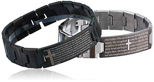 Flongo Mens Vintage Stainless Steel Black Cross English Bible Lords Prayer Link Wrist Bracelet for Men