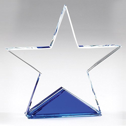 Crystal Star Trophy - Customizable 5-1/4 x 5-1/4 Inch Optical Cut Crystal Star on Blue Base with Personalization