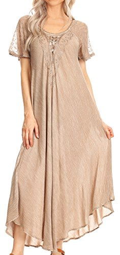 Sakkas 16611 - Helena Embroidered Nightgown/Women Sleepwear with Eyelet Sleeves - Beige - OS