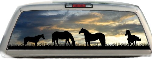 Horses- Sunset- 17 Inches-by-56 Inches- Compact Pickup Truck- Rear Window Graphics