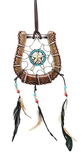 Ebros Western Lone Star Horseshoe Dreamcatcher with Feathers Wall Hanging Decor 5