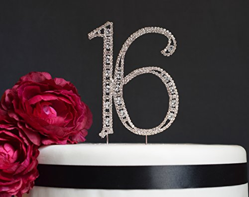 Sweet-16-Cake-Topper-Premium-Crystal-Rhinestones-Monogram-Number-Sixteen-16th-Birthday-Party-Decoration-Crystals-Securely-Attached-Perfect-Keepsake