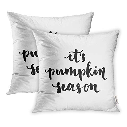Emvency Throw Pillow Cover Set of 2 Polyester 18x18 Inch Decorative Its Pumpkin Season Positive Quote Happy Halloween Lettering and Deco Cushion Pillowcase Sofa -