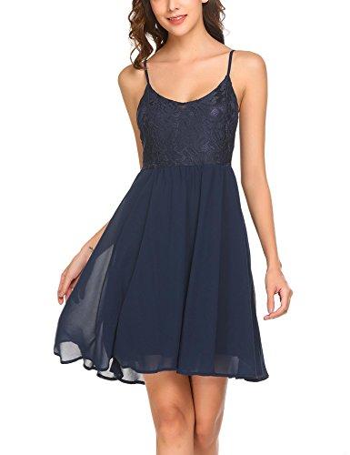 ELESOL Women's Cute Sleeveless Strap Dress Camisole Mini Club Party Dress,Dark (A-line Straps Sweetheart Sleeveless)