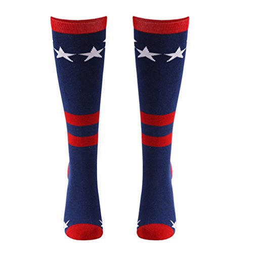 USA Flag Knee High Socks, Gmall Star & Stripes Cotton Red White Blue Basketball Football Mismatch Socks Gift Ideas for Mom Christmas, 1 Pack