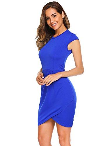 Blue Neck Dress Ruched Sheath to Work Burlady Women's Sleeve Wear Mock Cap Office Royal PTOnqEW
