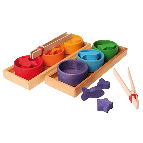 Grimm's Rainbow Bowls Shape & Color Sorting Game/Activity Set with Grabbing Tongs by Grimm's Spiel and Holz Design