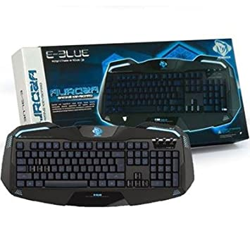 40905b923e2 E-Blue EKM701BKUS-IU Auroza Black USB Metallic Gaming Keyboard ...