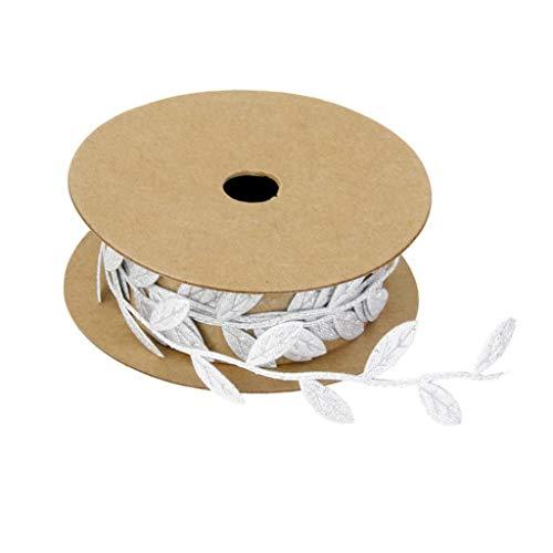 (Satin Snowflake/Leaf Vine Garlands Ribbon Trim Sewing Crafts Wedding Party Decor (Color - Silver -Leaf))