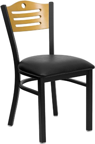 4 Pack HERCULES Series Black Slat Back Metal Restaurant Chair with Natural Wood Back & Black Vinyl Seat