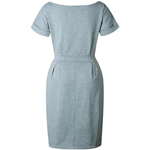Lace cintura corta moichien Plain manica Donna up Casual Vintage abito grigio Ai con vwYqw