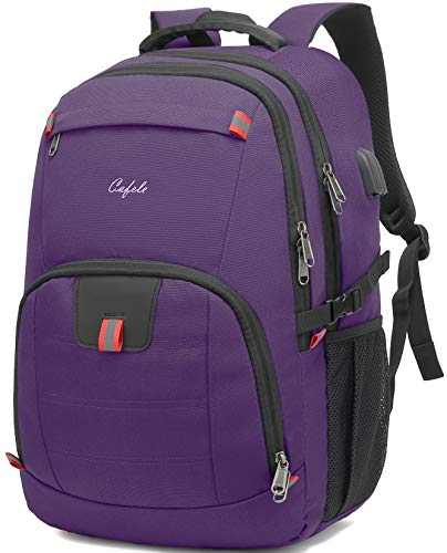 Travel Laptop Backpack 17.3 inch,Extra Large School Backpack Bookbag Computer Rucksack with USB Charging Port,Water Resistant Backpacks for Business College Work Travel,Men Women Casual Daypack,Purple