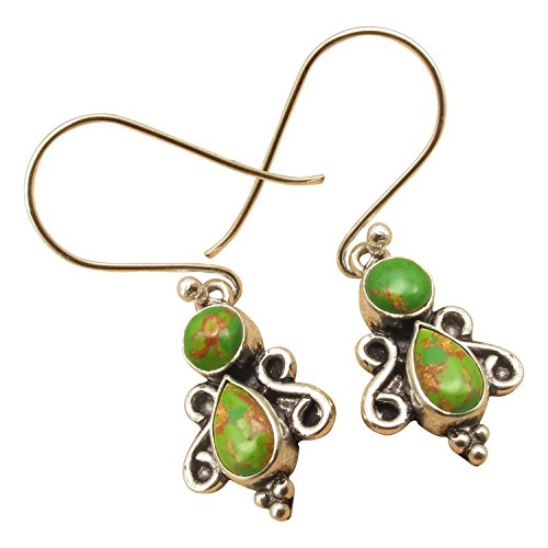 925 Sterling Silver Plated Authentic GREEN COPPER TURQUOISE GEMSTONE Handmade Earrings (Copper Turquoise Gemstone)