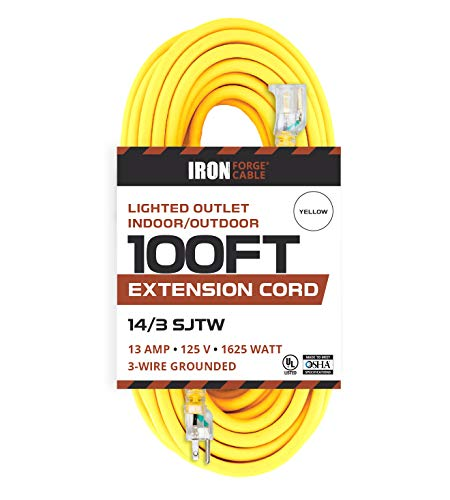 100 Foot Lighted Outdoor Extension Cord - 14/3 SJTW Heavy Duty Yellow Extension Cable with 3 Prong Grounded Plug for Safety - Great for Garden and Major Appliances ()