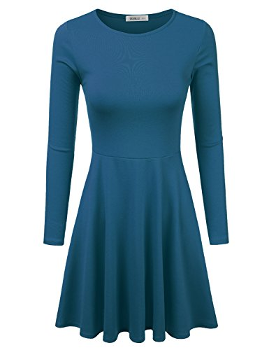 [Doublju Womens Long Sleeve Flared Mini Skater Dress (Made In USA) TEAL X-LARGE] (Cheap Plus Size Fancy Dress)