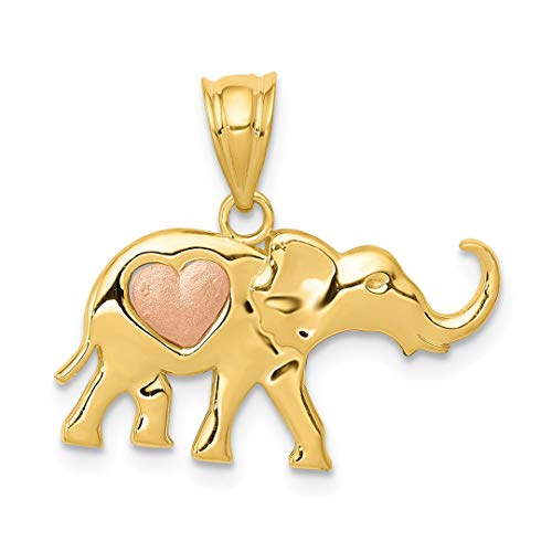 14k Yellow Rose Gold Elephant Heart Pendant Charm