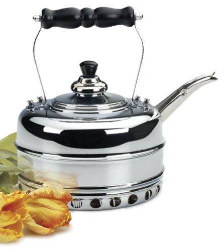 Simplex Heritage 2 Quart Chrome Finish Copper Tea Kettle for