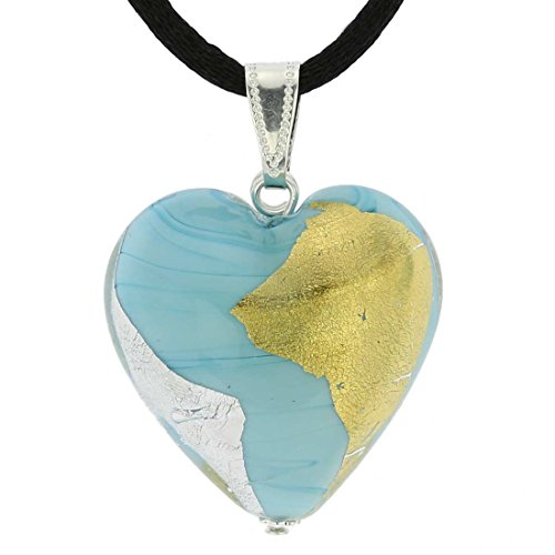 GlassOfVenice Murano Glass Heart Pendant - Turquoise Gold and Silver ()