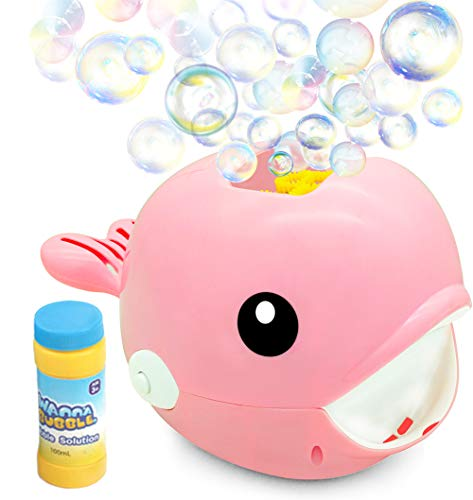 (Bubble Machine, Durable Automatic High Output Bubble Blower Over 2000 Bubbles Per Minute with 1 Bottle of Bubble Solution, Bubble Maker for Boy, Girl, Kid, Party, Wedding, Outdoor, Indoor Game (Pink))