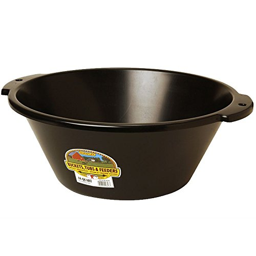 LITTLE GIANT FP18BLACK Dura-Flex Plastic Feed Pan, 18-Quart, Black