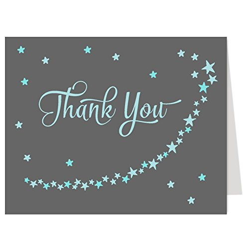 Baby Shower Thank You Cards, Twinkle Little Star, Boys, Over the Moon, Wish Upon a Star, Blue, Gray, Grey, Sprinkle, Birthday, Kids, 50 Folding Notes with White Envelopes, Twinkle Star