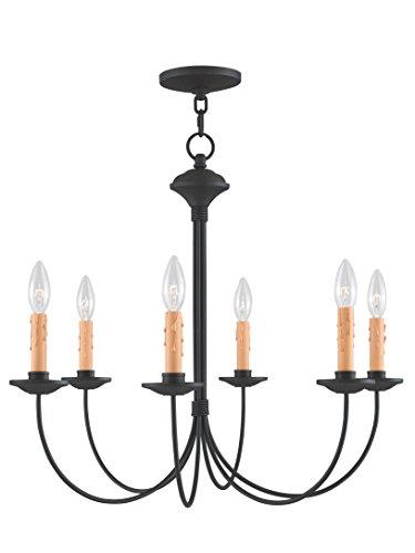 04 Heritage 6 Light Black Chandelier (Rustic Range 4 Light Chandelier)