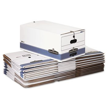 Bankers Box Stor/File Storage Box with Button Tie, White/Blu