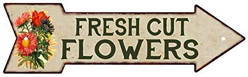 Chico Creek Signs Fresh Cut Flowers Metal Sign 5x17 Arrow Garden Flowers Gift Shed 205170008013