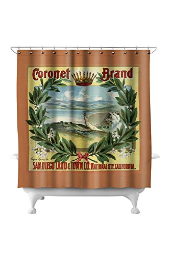 Coronet Brand - San Diego, California - Citrus Crate Label (71x74 Polyester Shower Curtain) (Barrel & Diego San Crate)