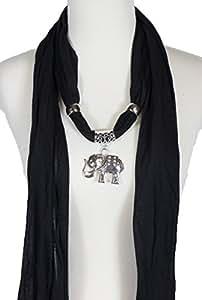 Alirina Red Scarf with Elephant Charm Pendant Jewelry Necklace Scarf elephant scarf (Black)