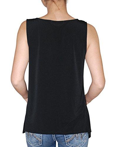 Ellen Tracy Black Sleeveless Embellished Tie-Neck Top M
