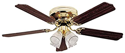Litex BRC52BB5C Brilliante Collection 52-Inch Ceiling Fan with Five Reversible Red/Red Walnut Blades and Four Light kit with Clear-Ribbed Glass
