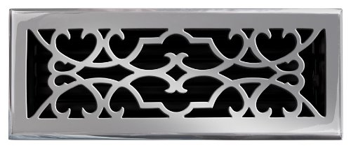 Brass Elegans 120E PWT Solid Cast Brass Victorian 4-Inch by 12-Inch Floor Register, Pewter Finish Model