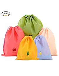 Set of 5 Drawstring Bags Waterproof Plastic Storage Pouch for Travel Sport Gym PE