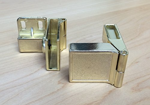 - Inset Side-Mount Glass Door Hinge in Polished Brass